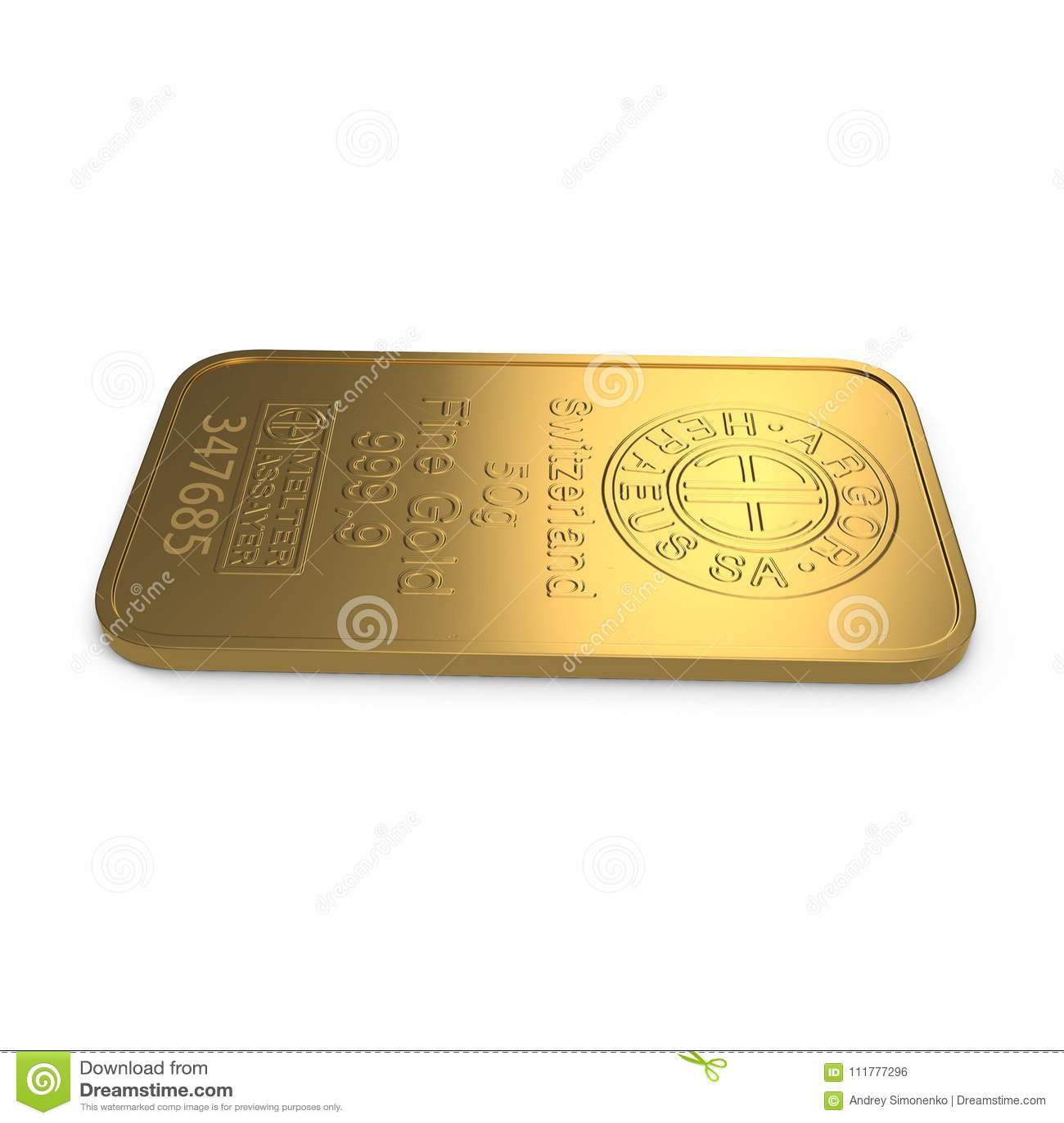 Guld- stång 50g som isoleras på vit illustration 3d