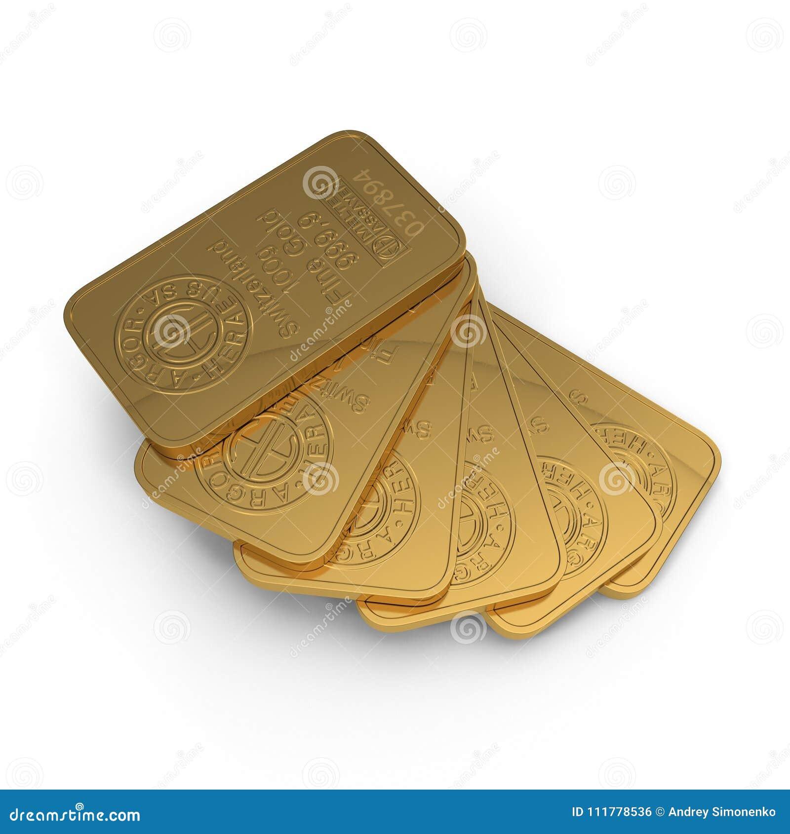 Guld- stång 100g som isoleras på vit illustration 3d