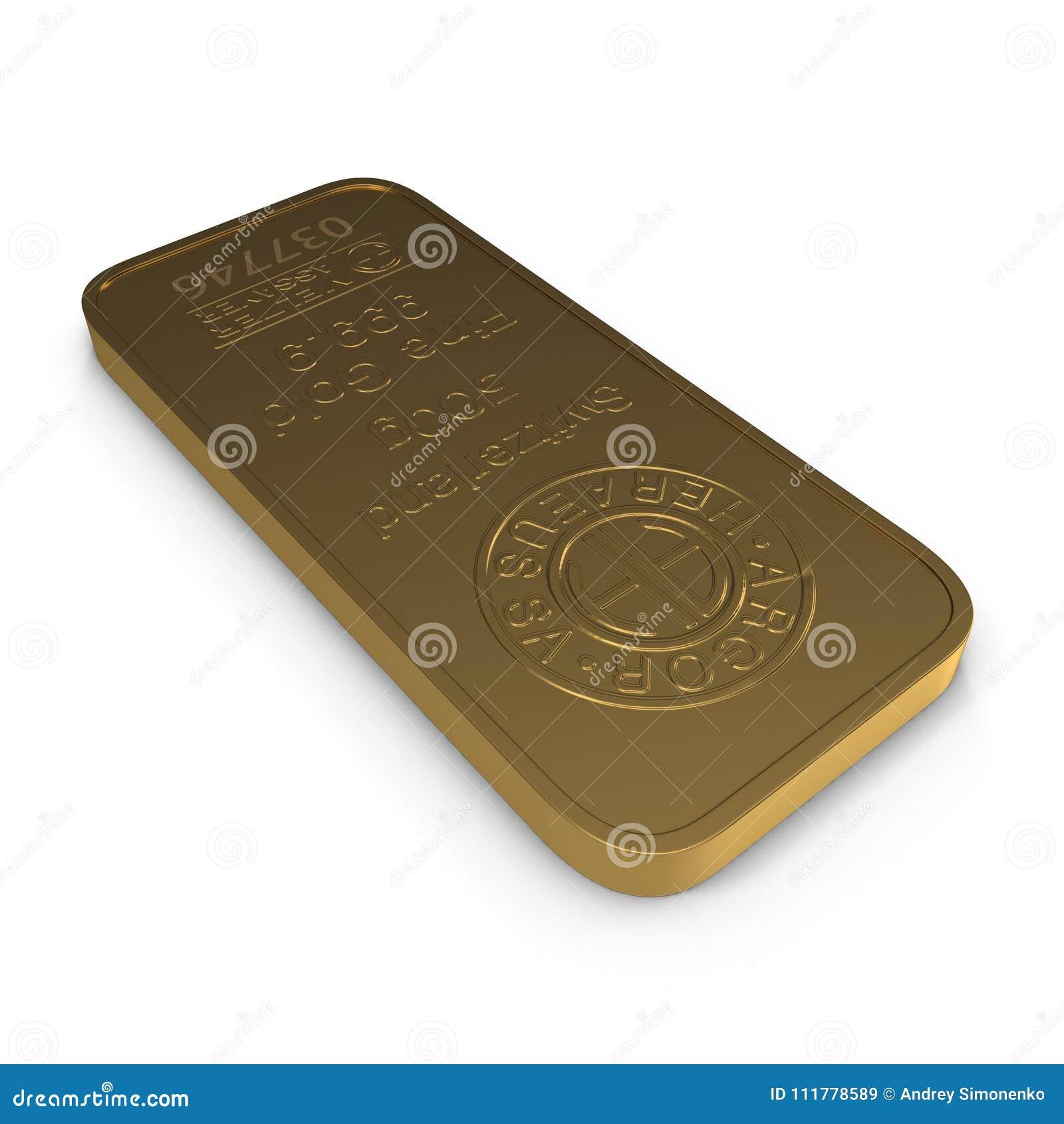 Guld- stång 500g som isoleras på vit illustration 3d
