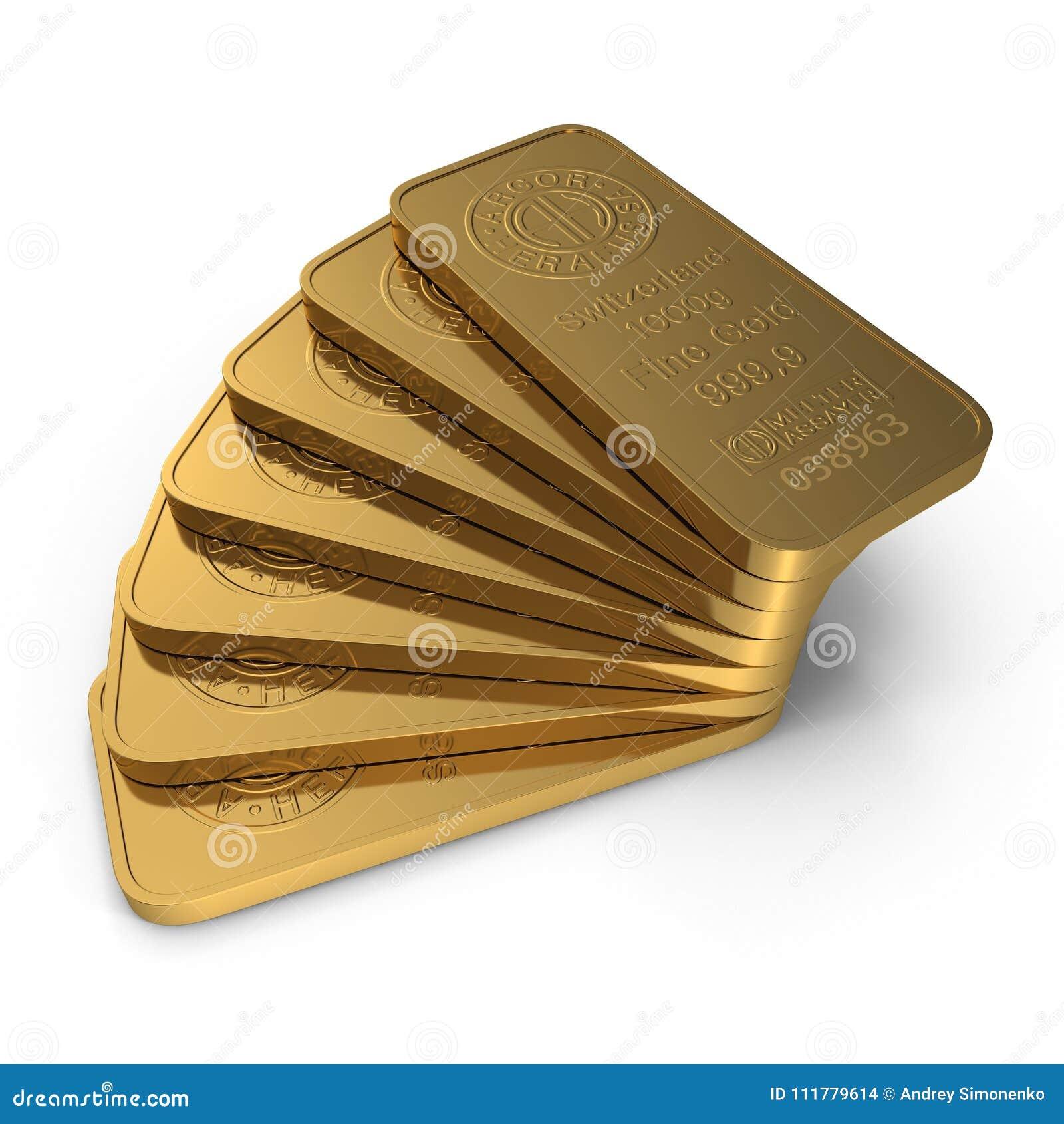 Guld- stång 1000g som isoleras på vit illustration 3d