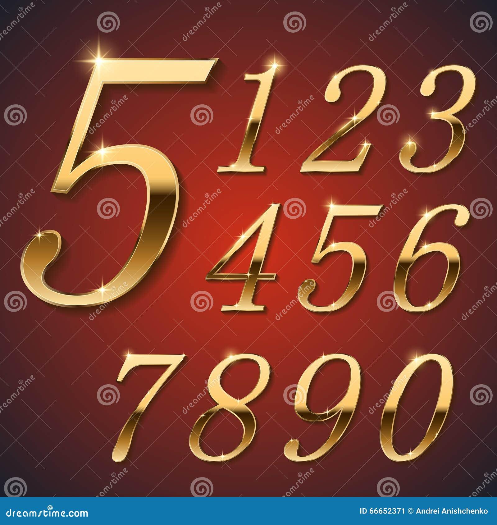 Guld- stilfulla siffror