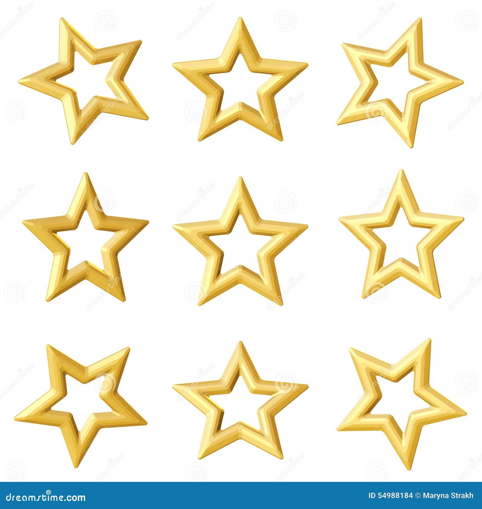 Guld- stjärna Olika vinklar