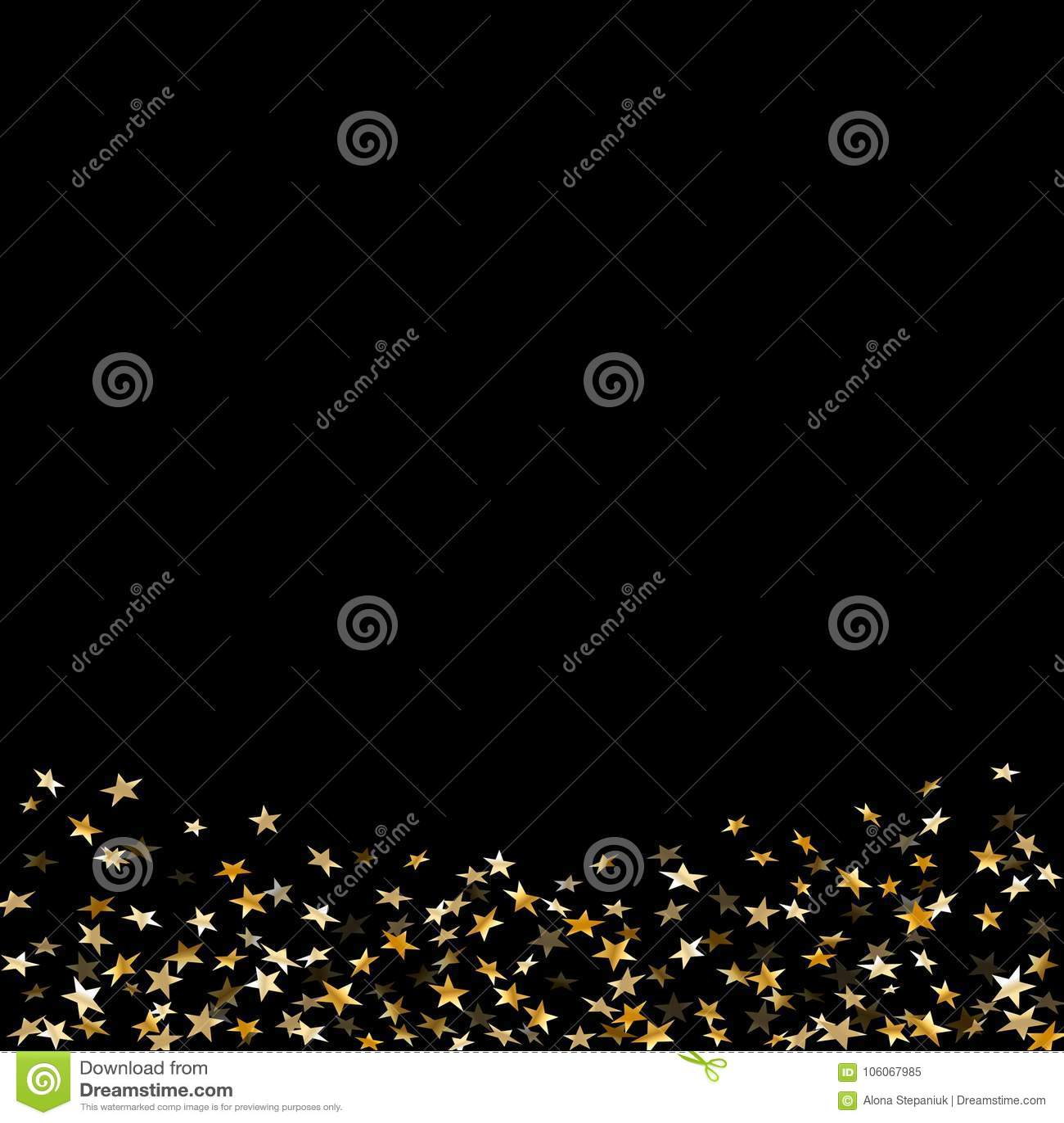 Guld- stjärnakonfettiberöm som isoleras på svart bakgrund Guld- abstrakt modellgarnering för fallande stjärnor blänka