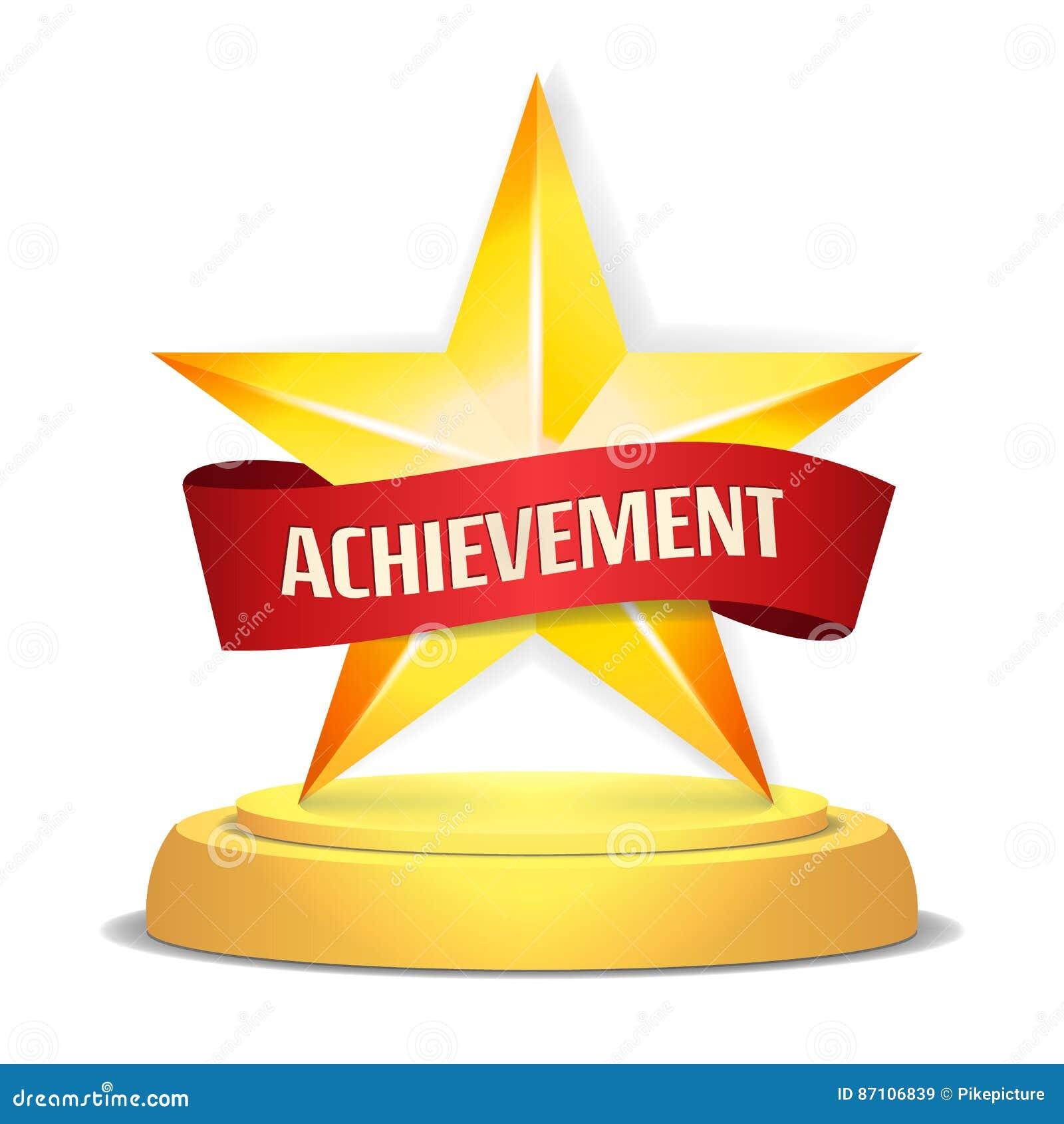 Guld- stjärnautmärkelse Rött band med stället för text också vektor för coreldrawillustration Modern trofé, utmaningpris Härligt