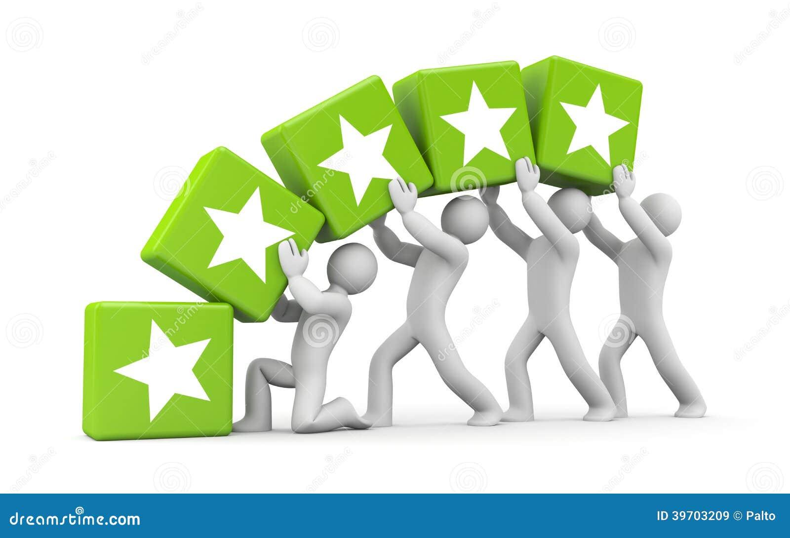 5 guld- stjärnor. Teamworkmetafor
