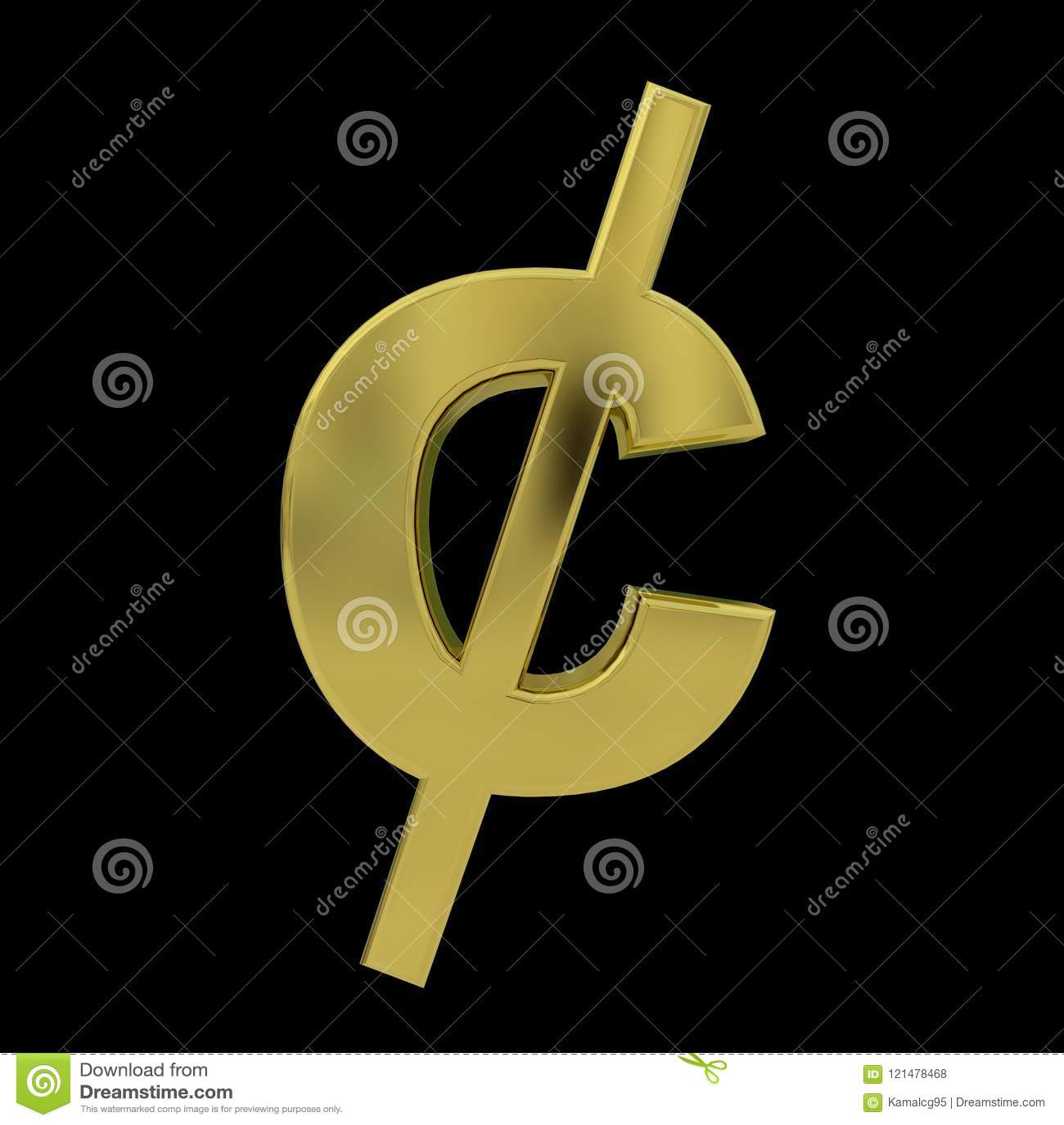 Guld- symbol för cent som 3D isoleras på svart
