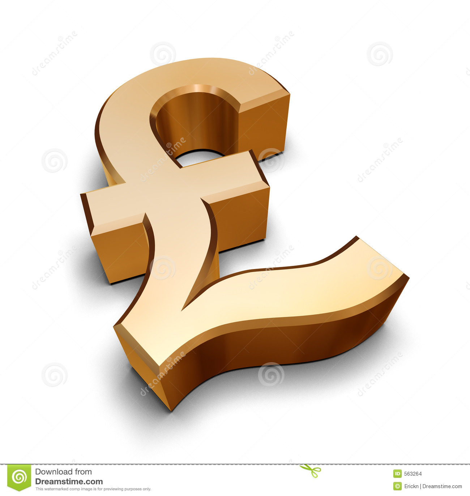 Guld- symbol för pund 3d
