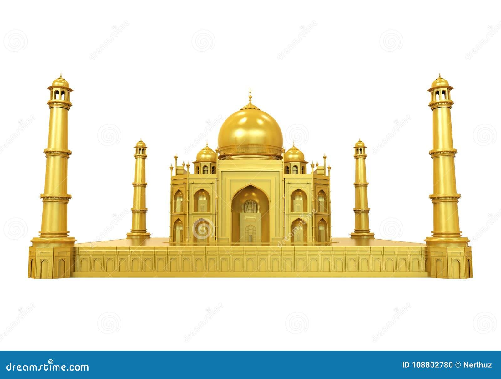 Guld- Taj Mahal Isolated