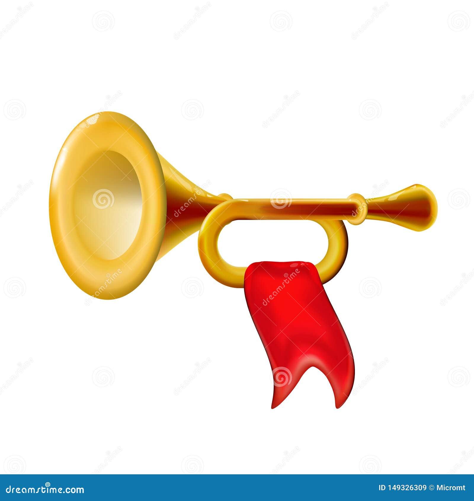 Guld- trumpet f?r realistisk fanfar 3d, symbol med f?r vindmusikinstrument f?r r?d flagga det isolerade glansiga tecknet, garneri
