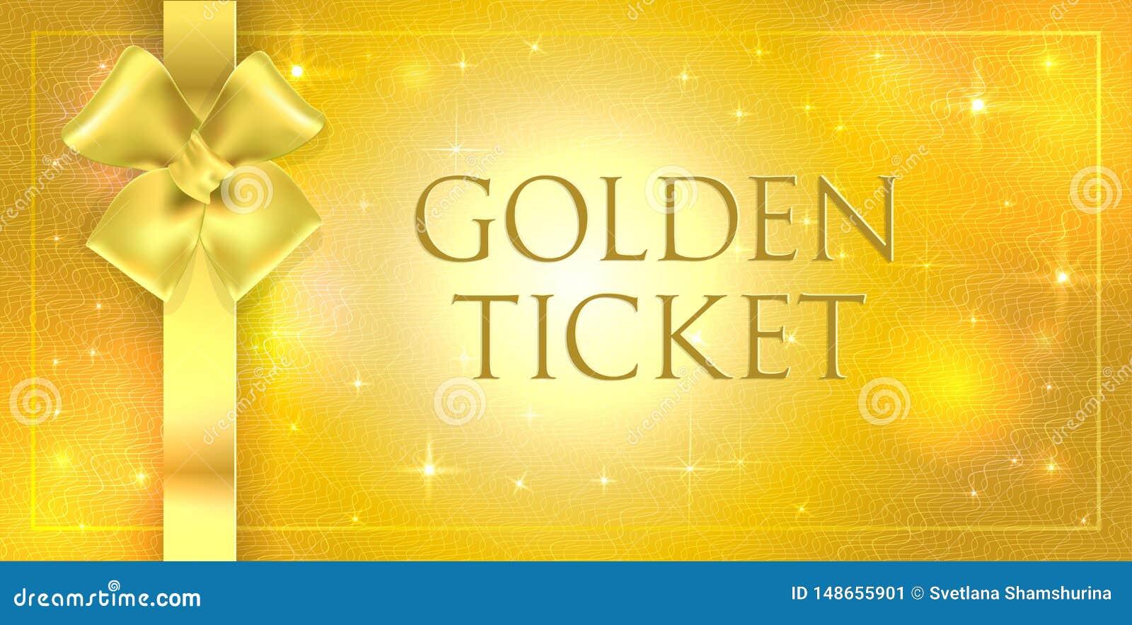 Guld- vektorvolym bl?nker bakgrund med den guld- siden- dubbla pilb?gen och bandet Guld- biljett med stj?rnaglansen som skiner me