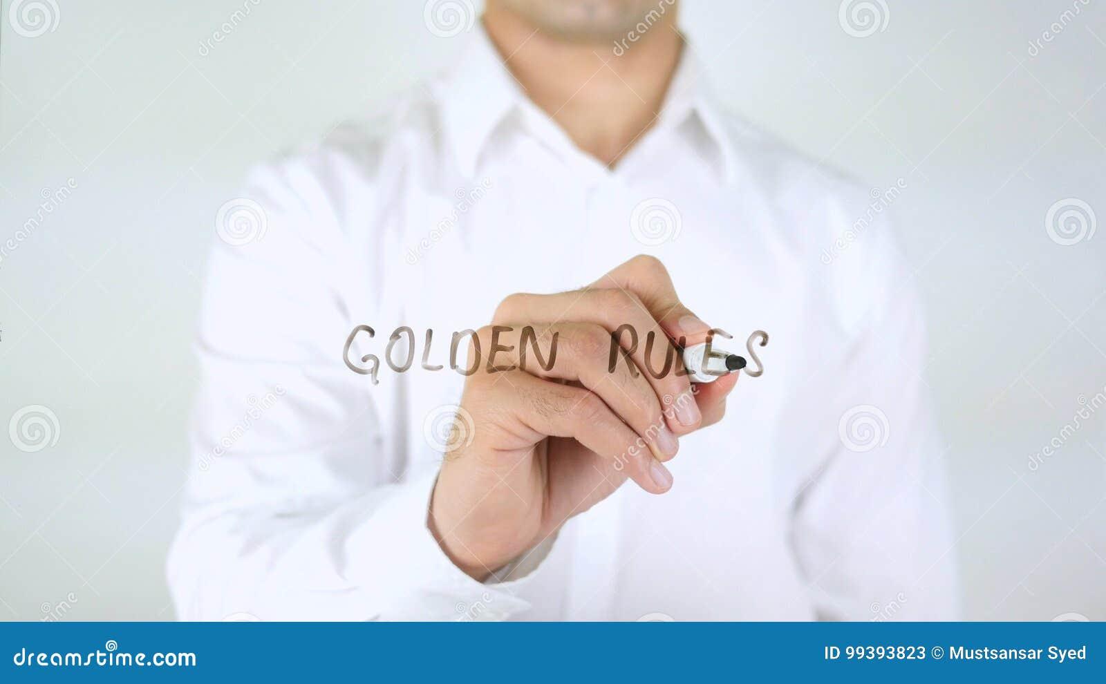 Gulden regels, Zakenman Writing op Glas