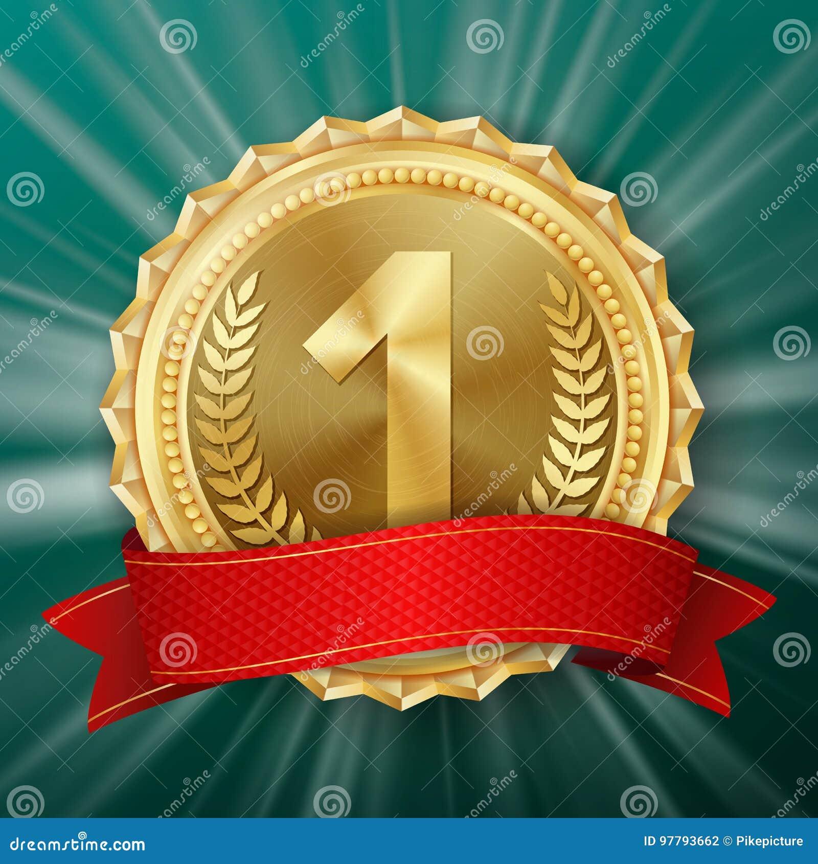 Guldmedaljvektor Guld- 1st ställeemblem Metallisk vinnareutmärkelse rött band Oliv förgrena sig realistisk ballonsillustration