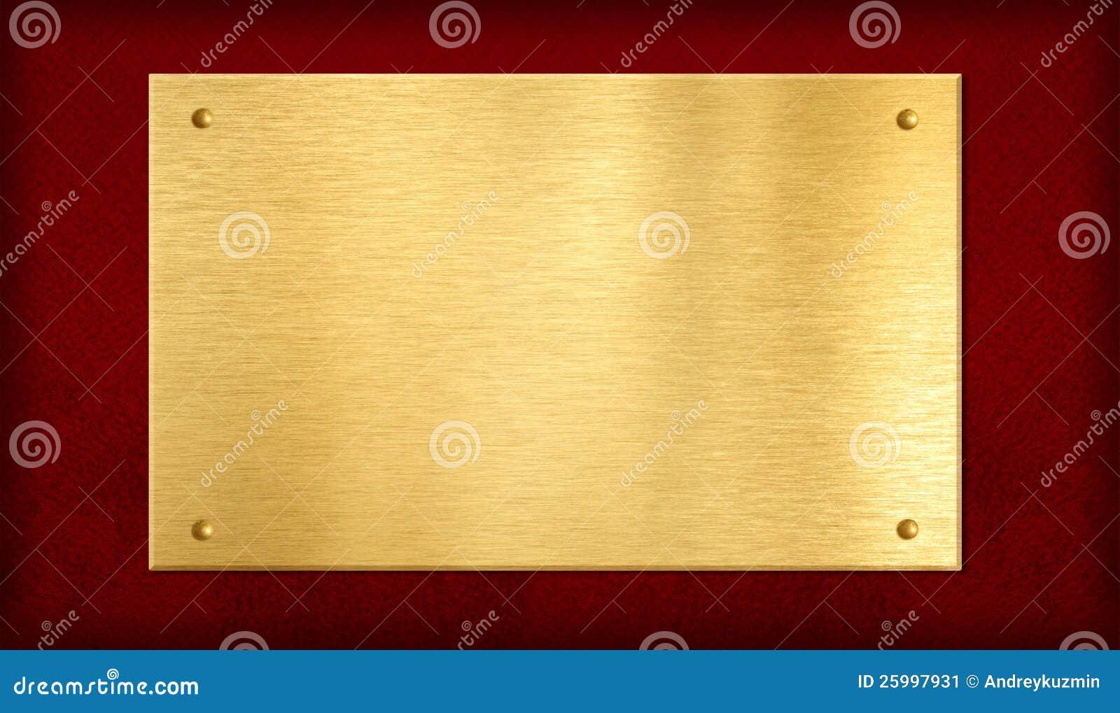 Guldplatta på röd bakgrund