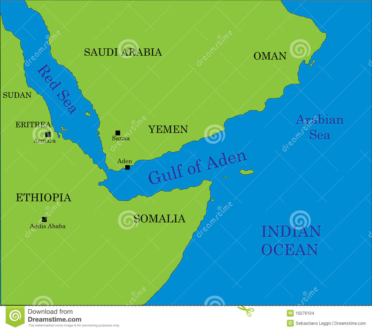 Gulf of Aden map stock vector Illustration of arabia 10276104