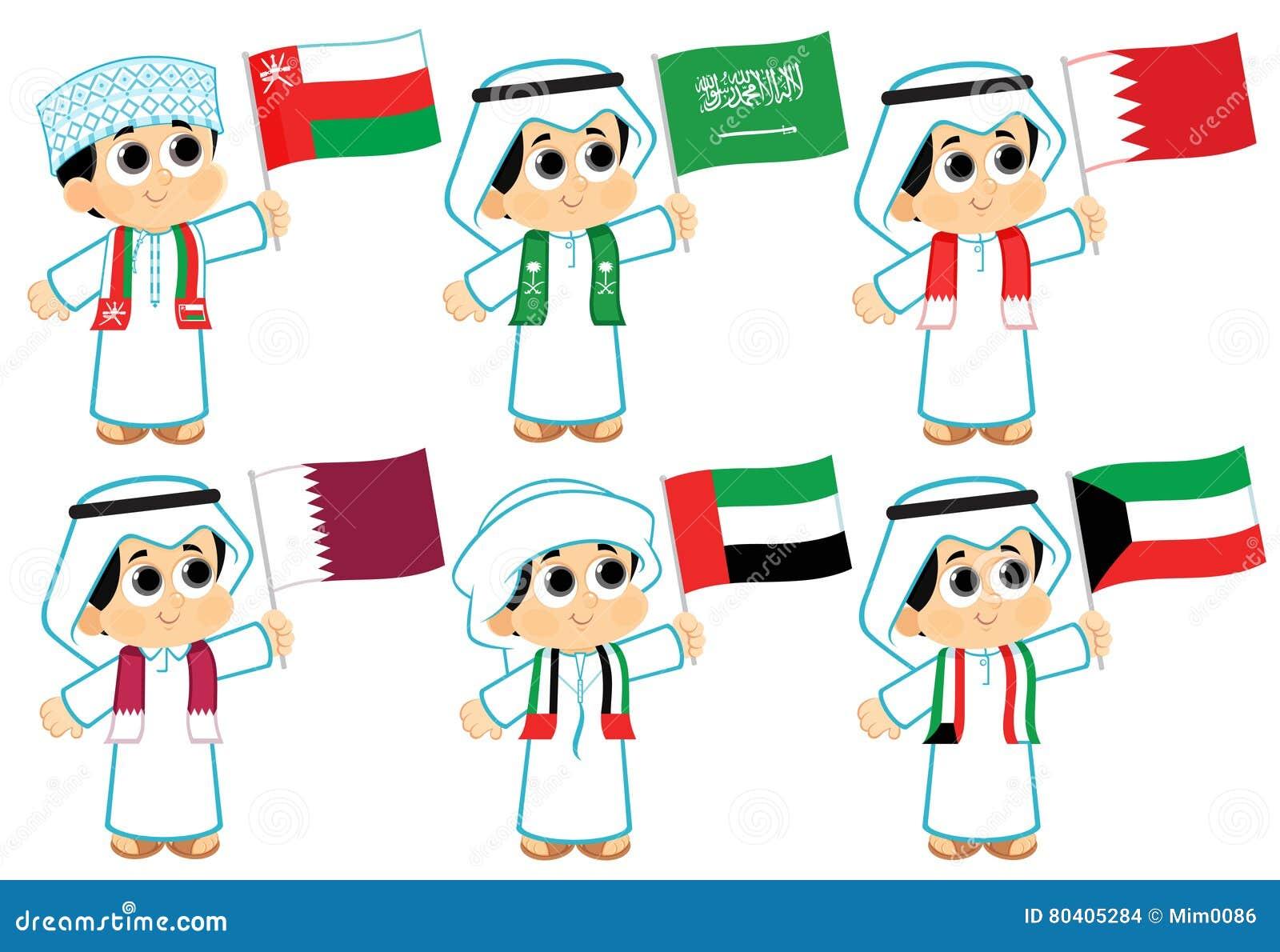 Gulf Cooperation Council Flags Oman Saudi Arabia Bahrain Qatar United Arab Emirates Kuwait Uae Flag Day Boy