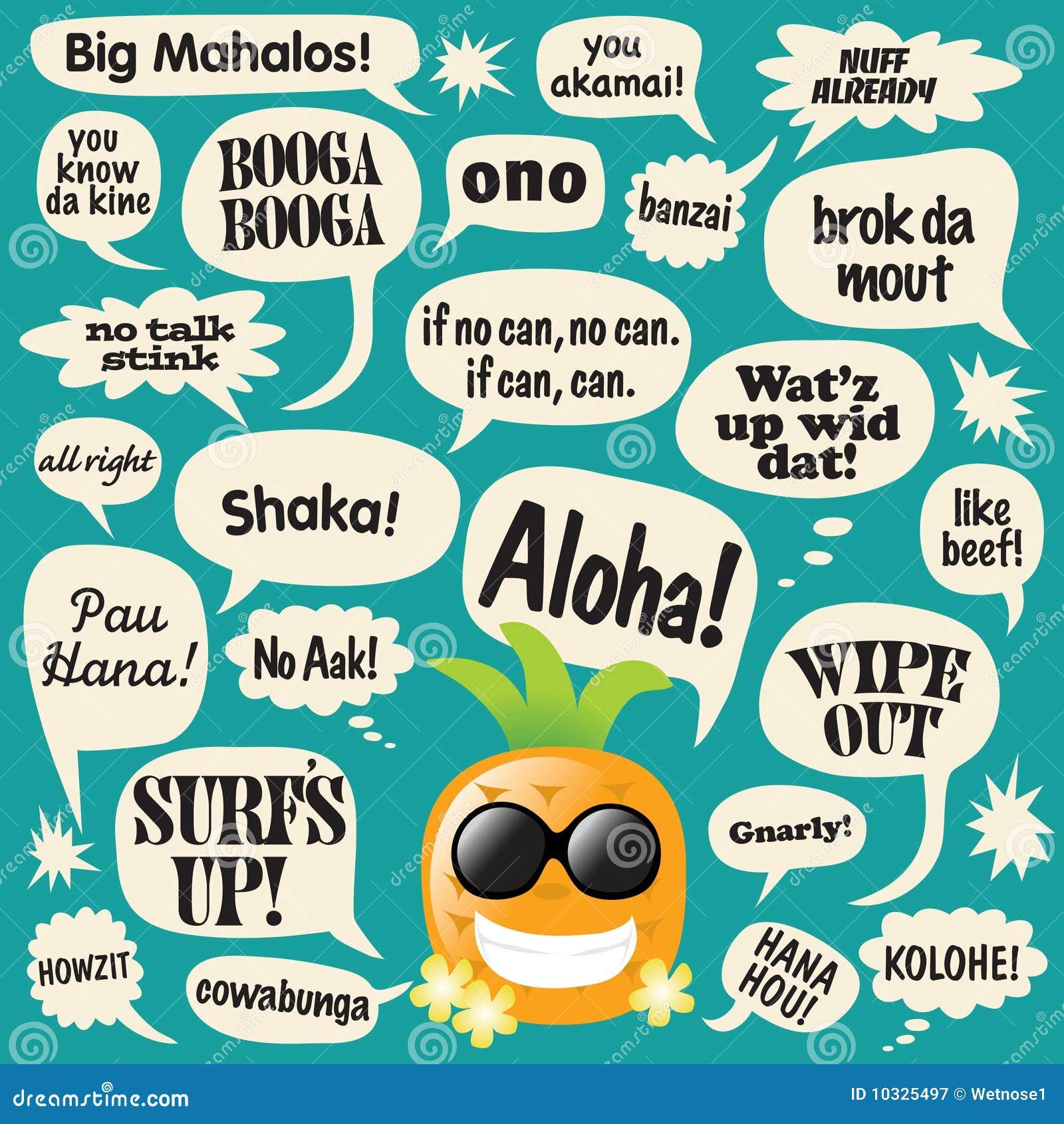 Gulgocze ananasowych hawajczyków komicznych zwroty