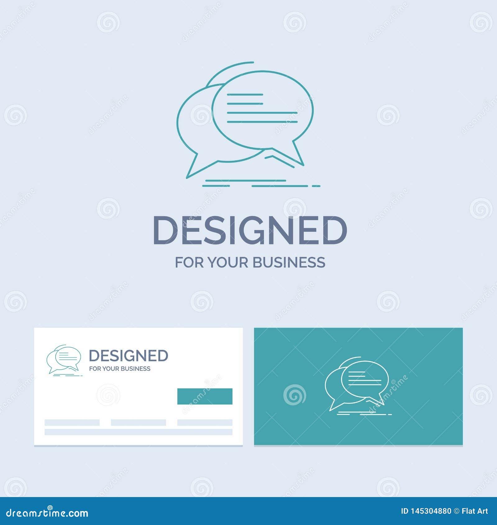 Gulgocze, gawędzi, komunikacja, mowa, rozmowa logo linii ikony Biznesowy symbol dla twój biznesu Turkusowe wizyt?wki z gatunkiem
