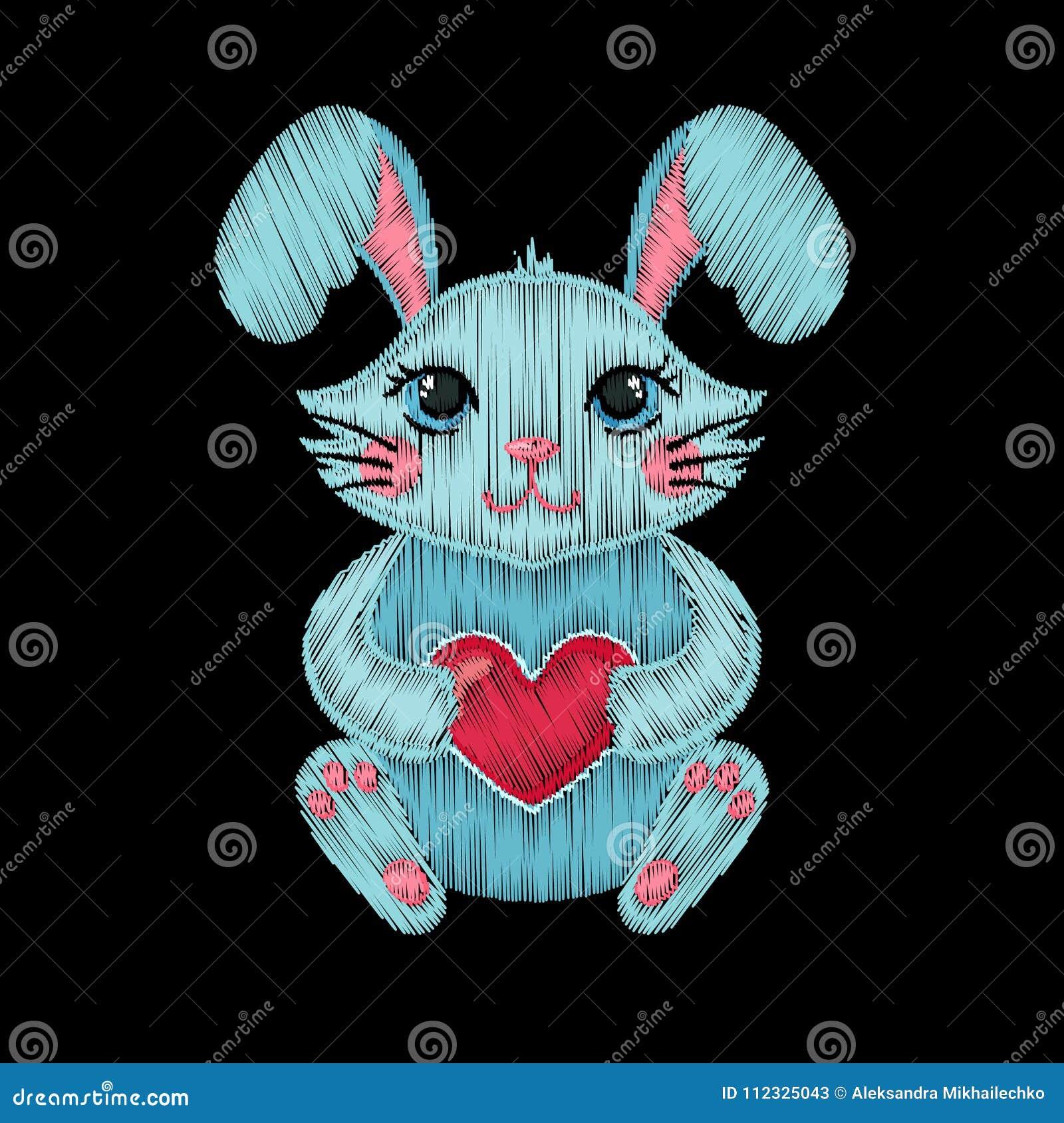 Gullig broderad kanin med hjärta för ungemodedesign