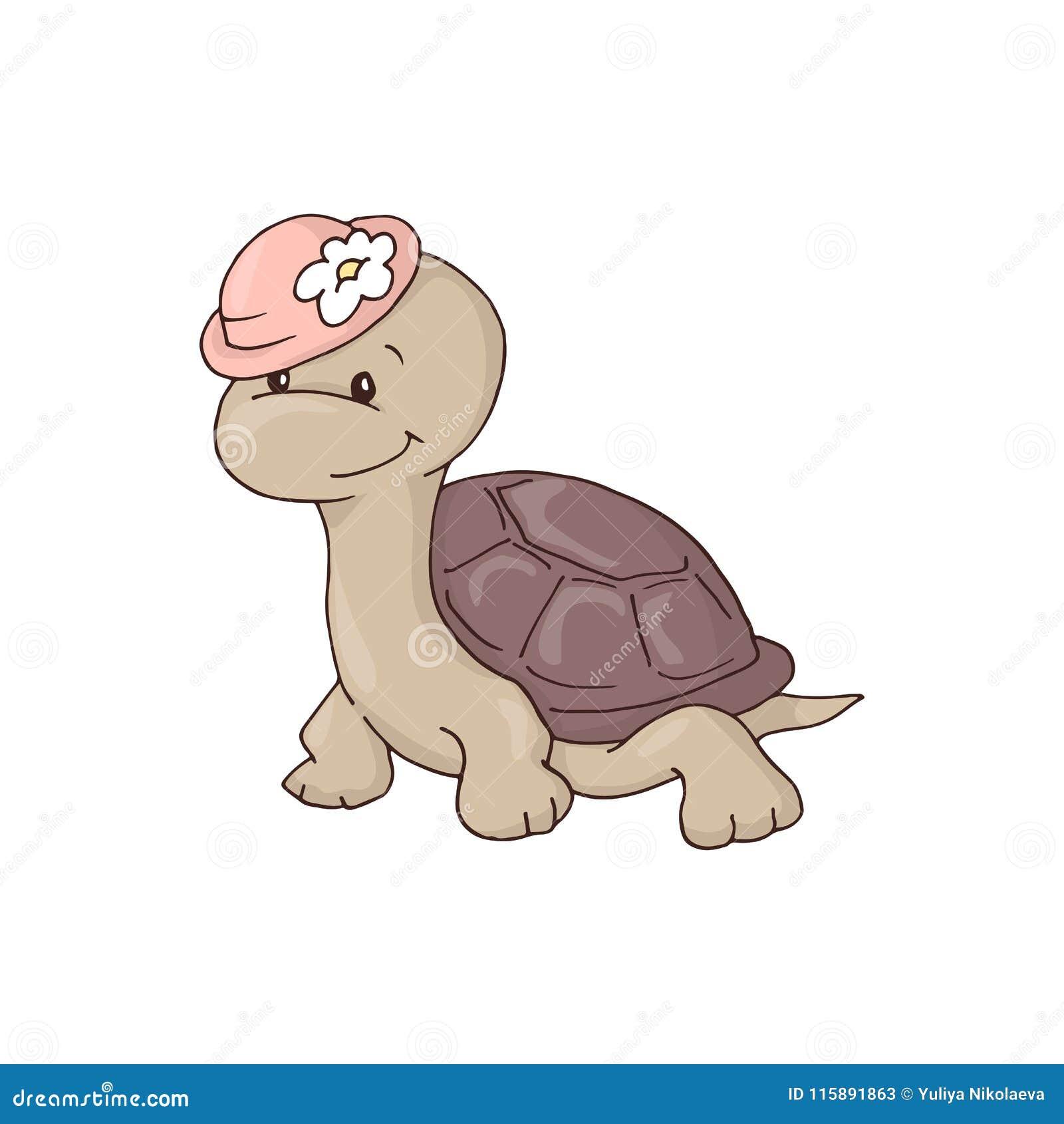 Gullig charmig flickatecknad filmsköldpadda i en hatt med en blomma