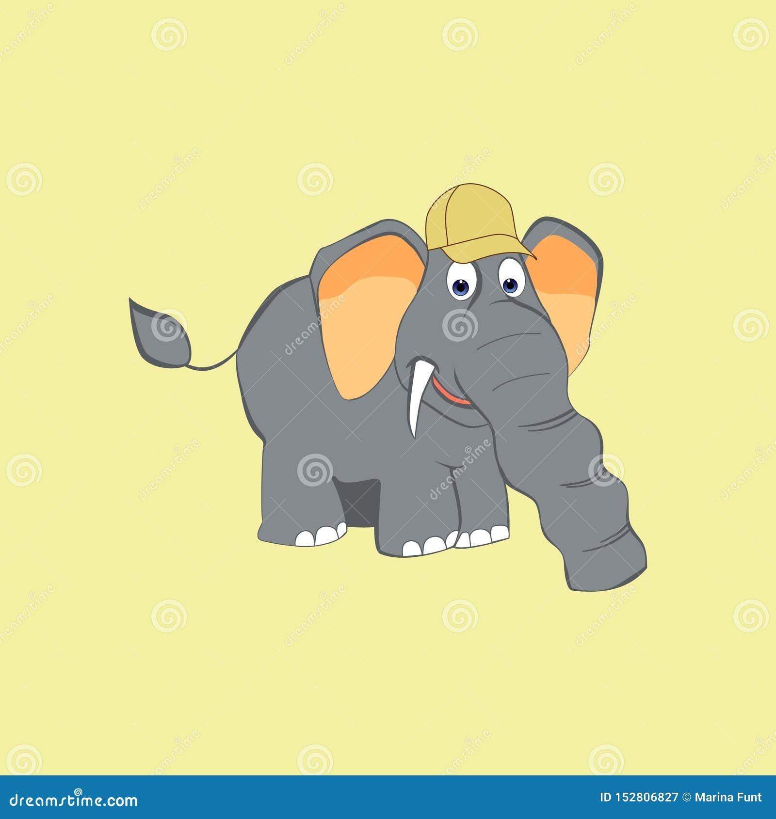 Gullig elefant i ett lock i en tecknad filmstil