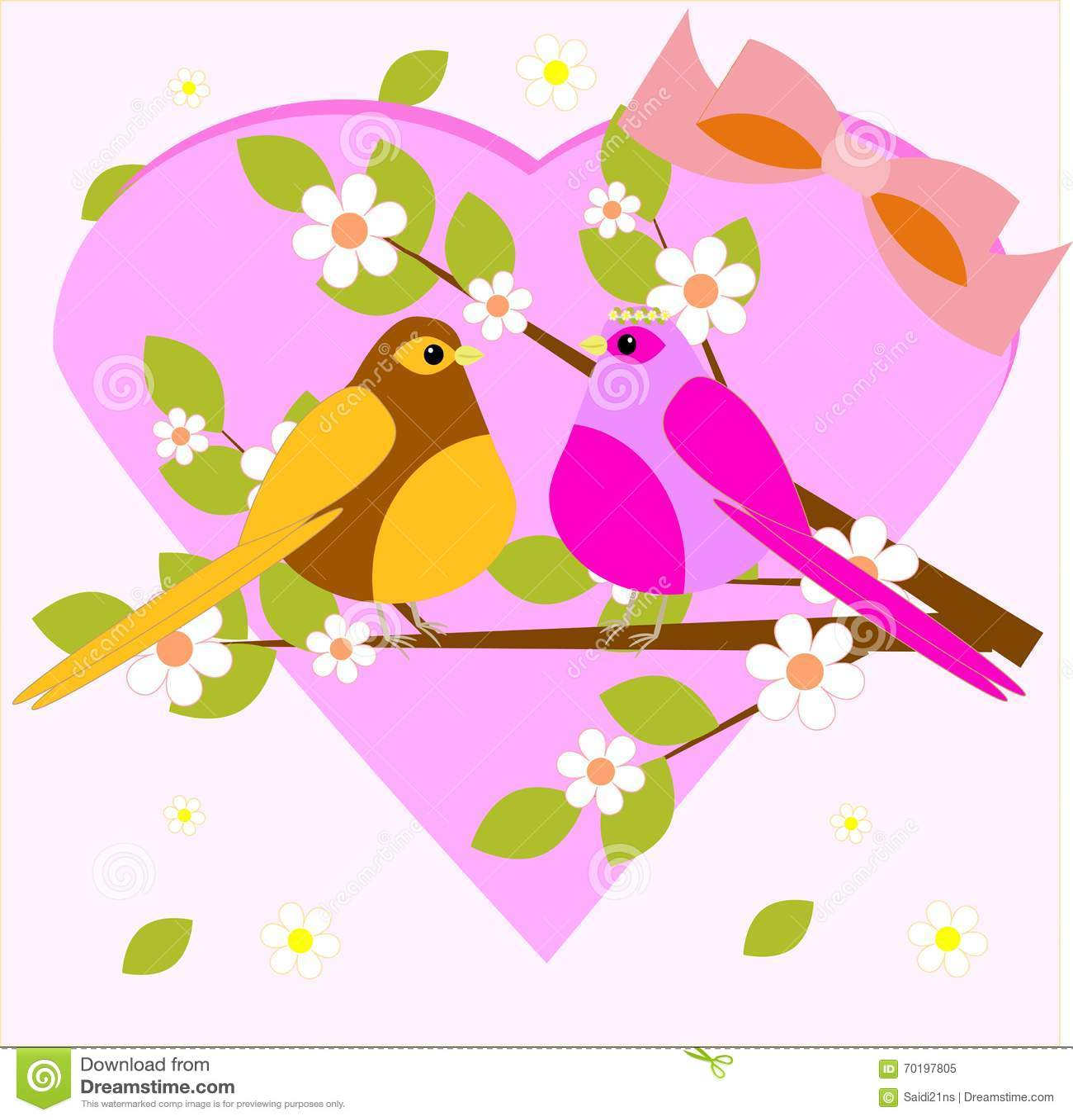 Gullig förälskelsefågelblomma