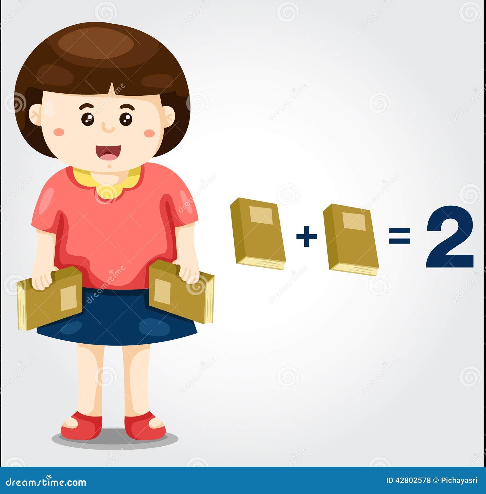 Gullig flicka med matematik