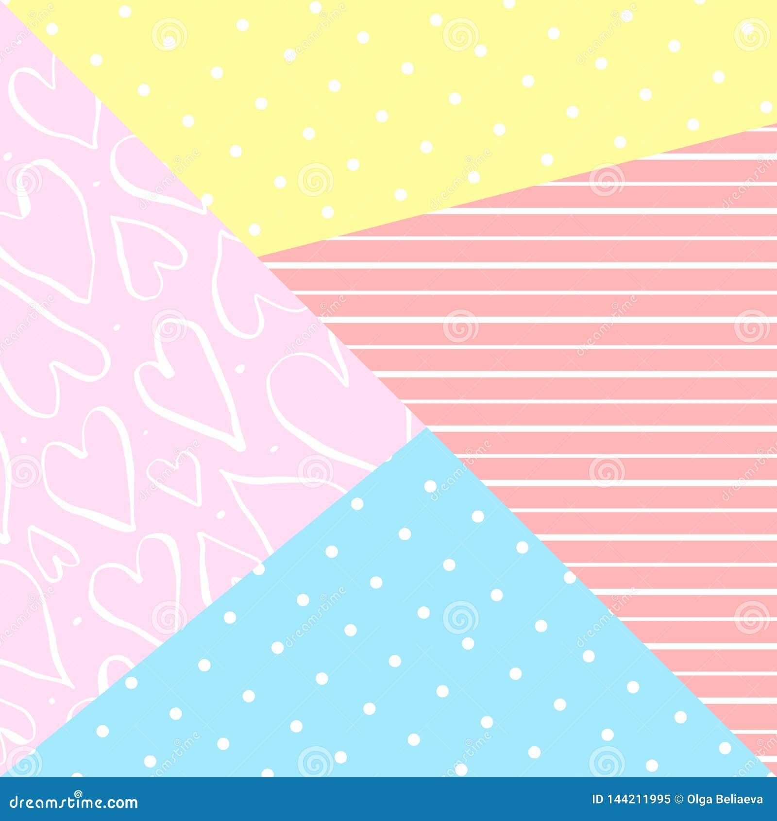 Gullig geometrisk bakgrund för vektor med dekorbeståndsdelar