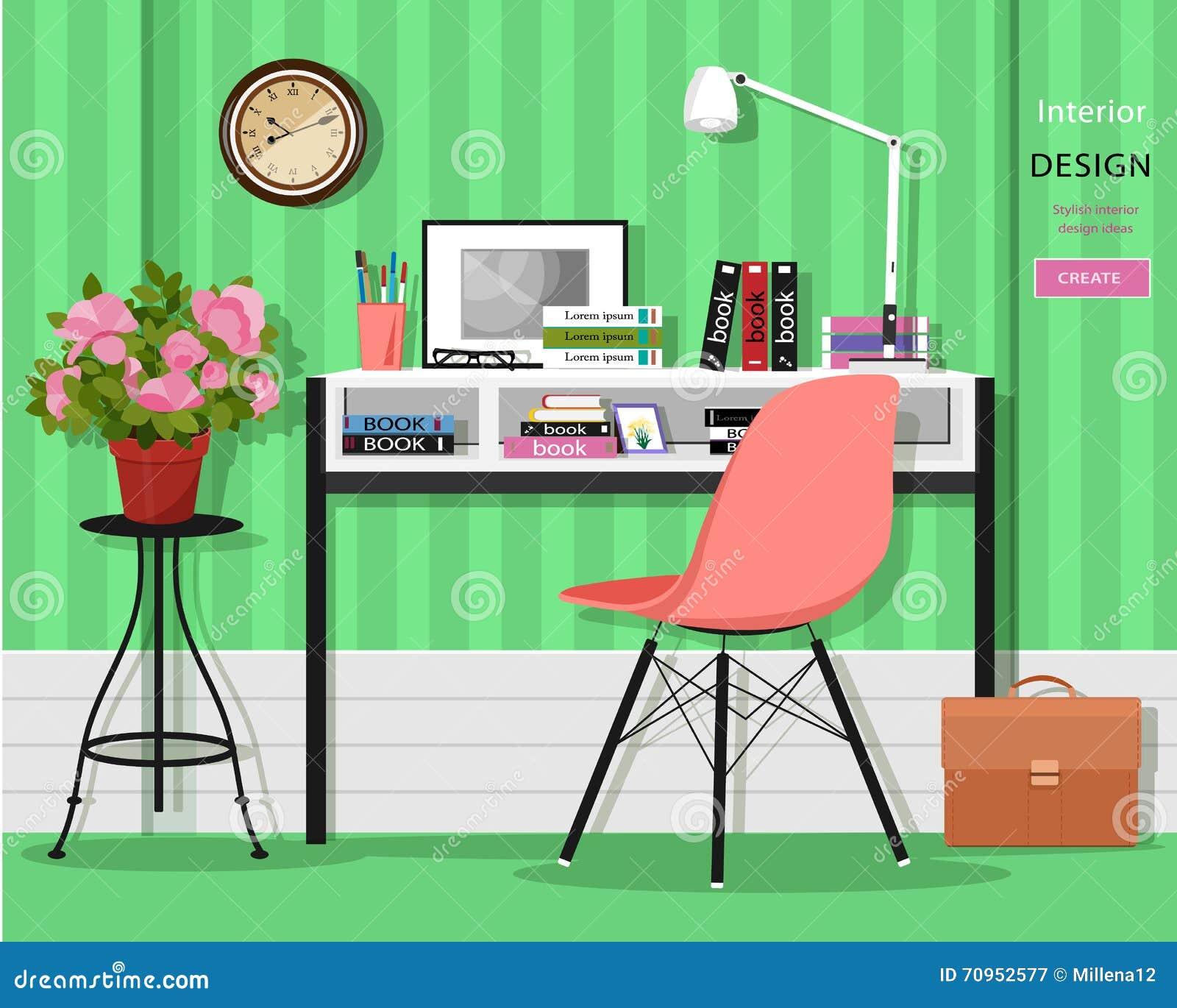 Gullig grahic inrikesdepartementetruminre med skrivbordet, stol, lampan, böcker, påsen och blommor