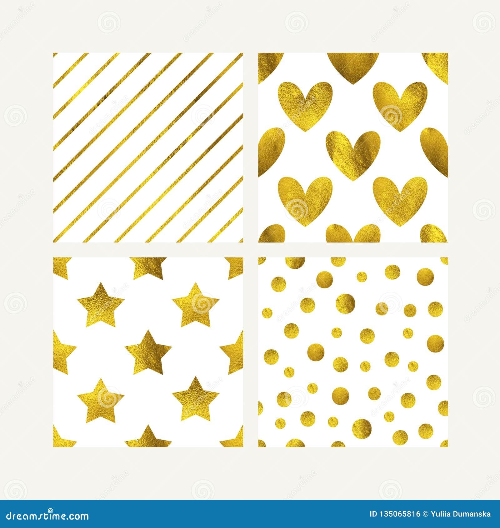 Gullig guld- sömlös modelluppsättning Guld blänker hjärtor, stjärnor och linjer bakgrund Sanka valentin kort, hälsning