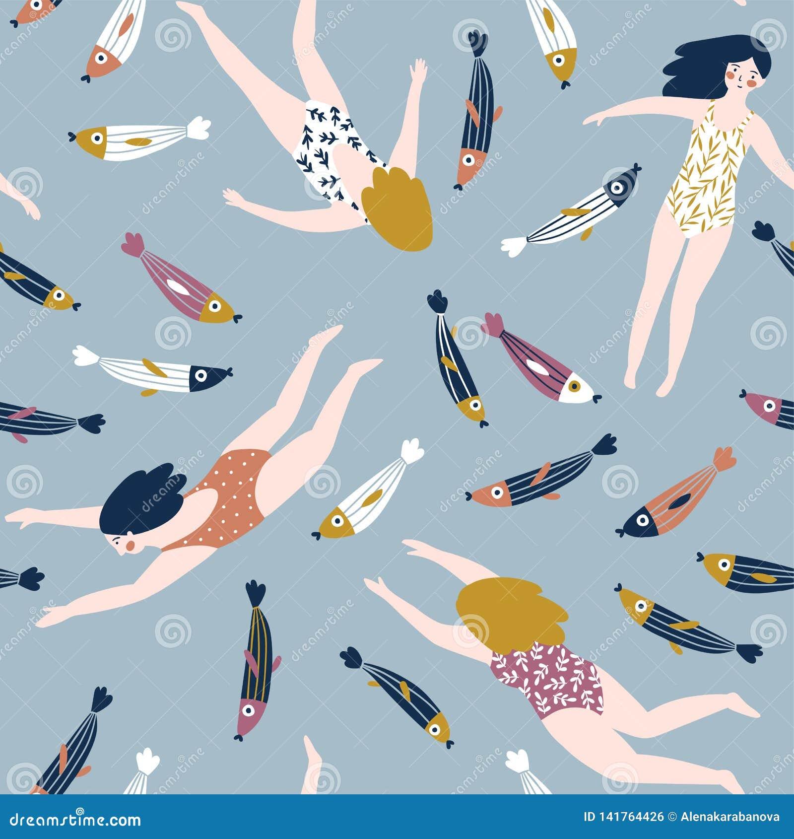 Gullig hand-dragen repetitionmodelldesign med att simma flickor och fisken Undervattens- sömlös bakgrund Vektor stilfull su