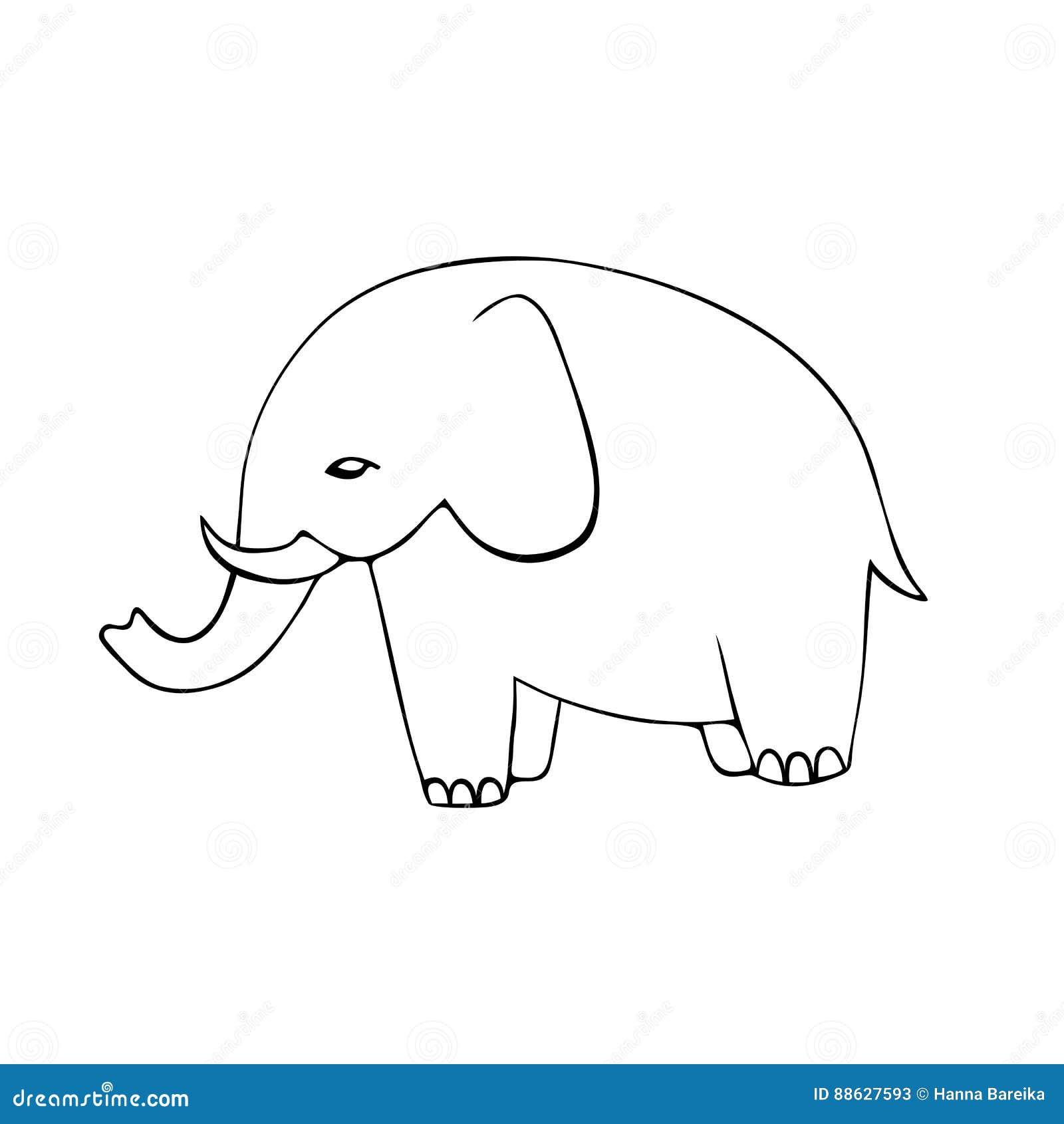 Gullig hand drog elefanter Monokrom vektorbild