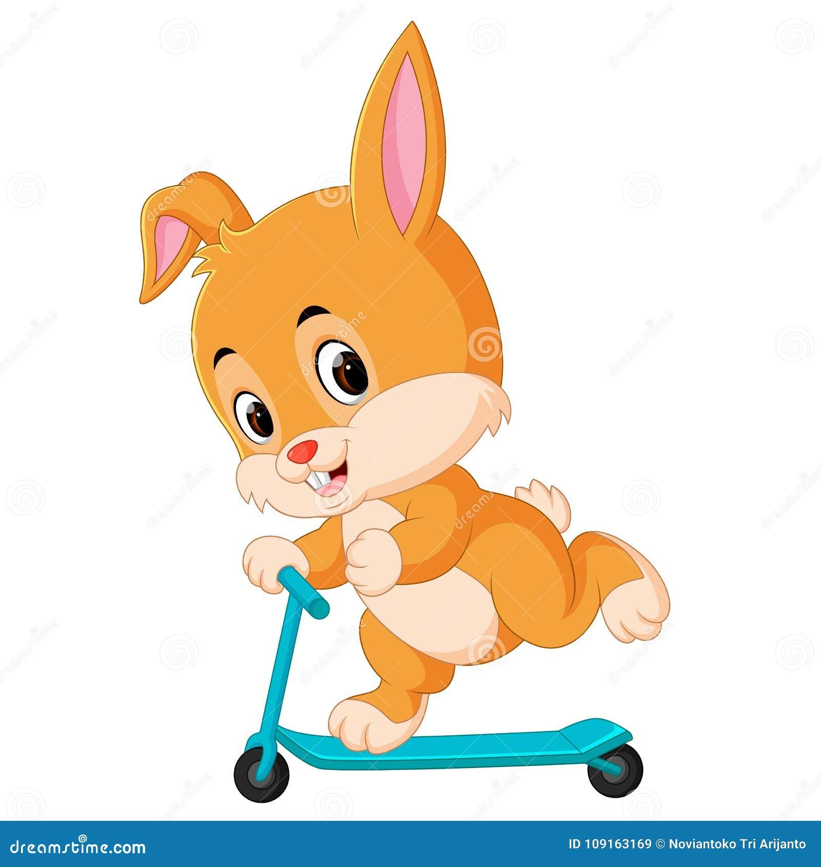 Gullig kanin som rider en sparkcykel