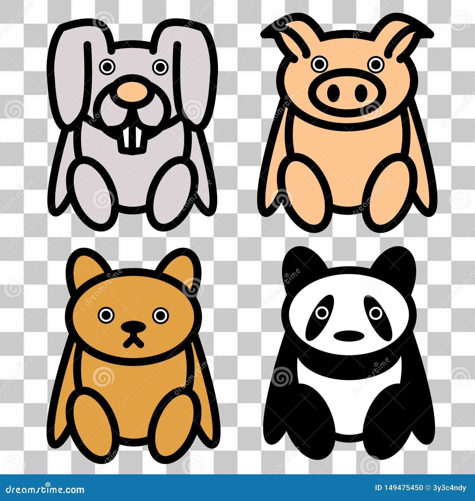 Gullig kelig leksaker 4x: Piggy kanin, bj?rn