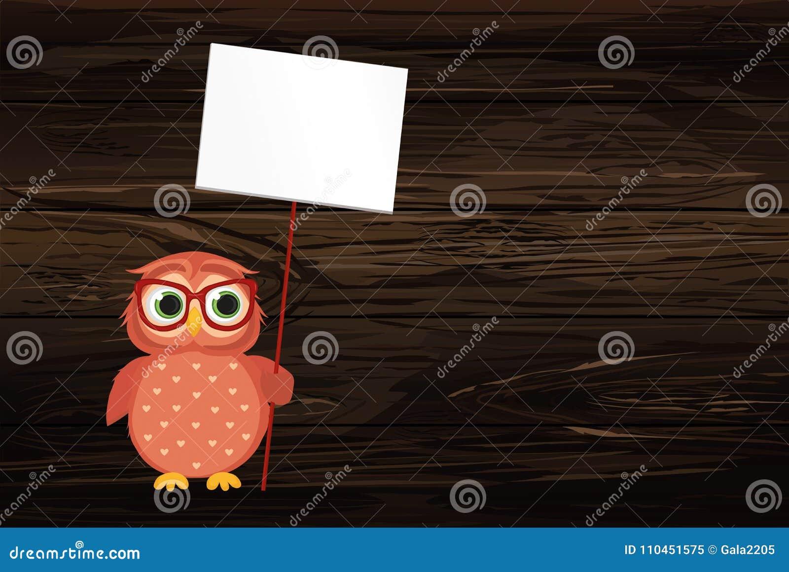 Gullig kulör uggleunge som rymmer en tom affisch Blenk för din text eller