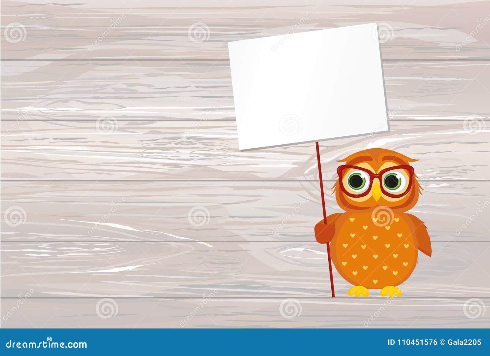Gullig kulör uggleunge som rymmer en tom affisch för din text eller
