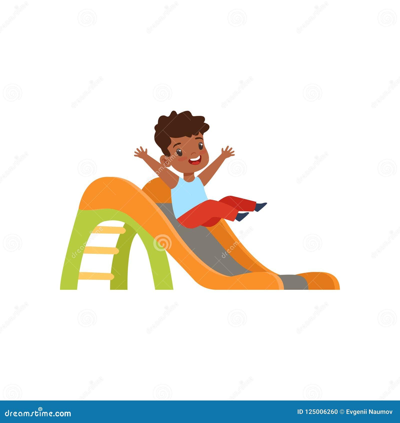 Gullig liten afrikansk amerikanpojke som ner glider glidbanan, unge som har gyckel på lekplatsvektorillustration på en vit