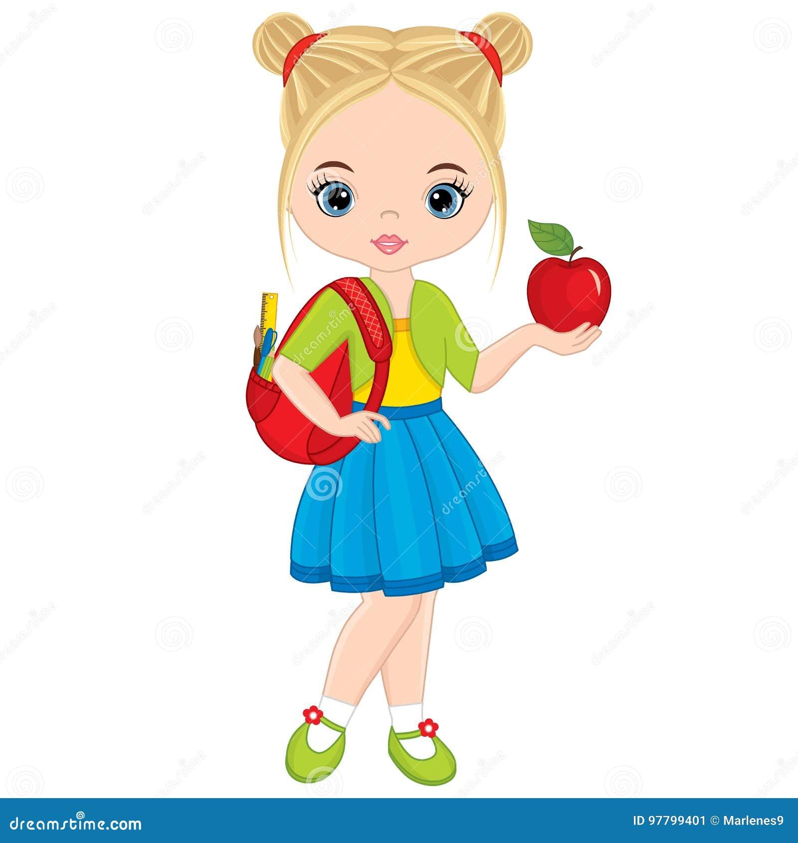 Gullig liten flicka för vektor med skolapåsen och Apple