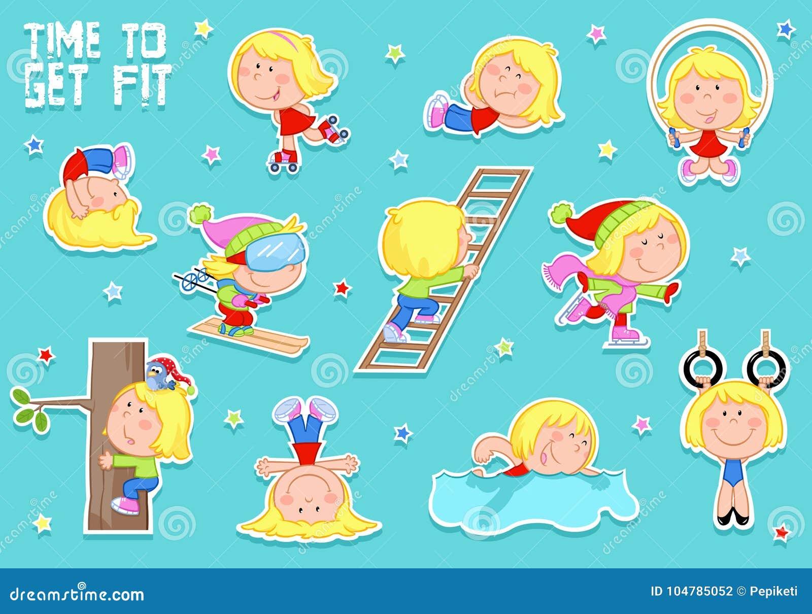 Gullig liten flicka med blont hår och sportar - åka skridskor och att simma som skidar, skridskoåkning
