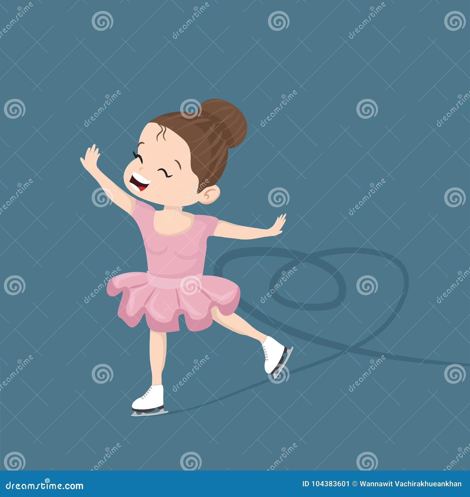 Gullig liten flicka som åker skridskor i isen