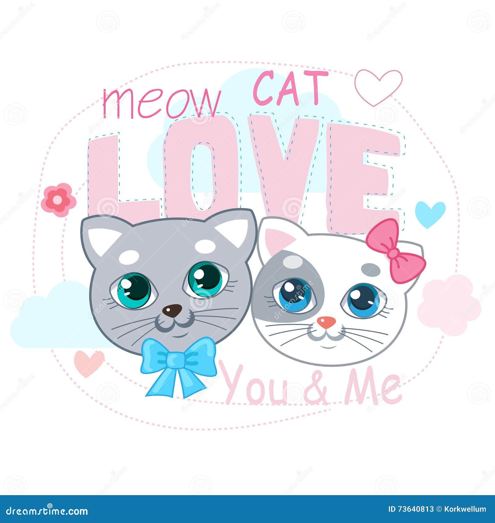 Gullig liten kattvektorillustration Förälskelse Cat Cartoon Vector Т-skjorta design