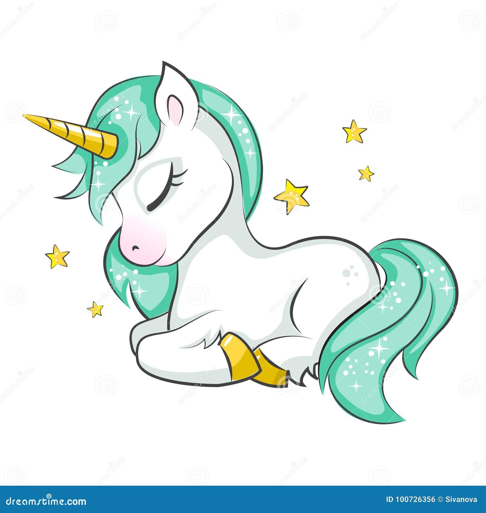 Gullig liten unicorn