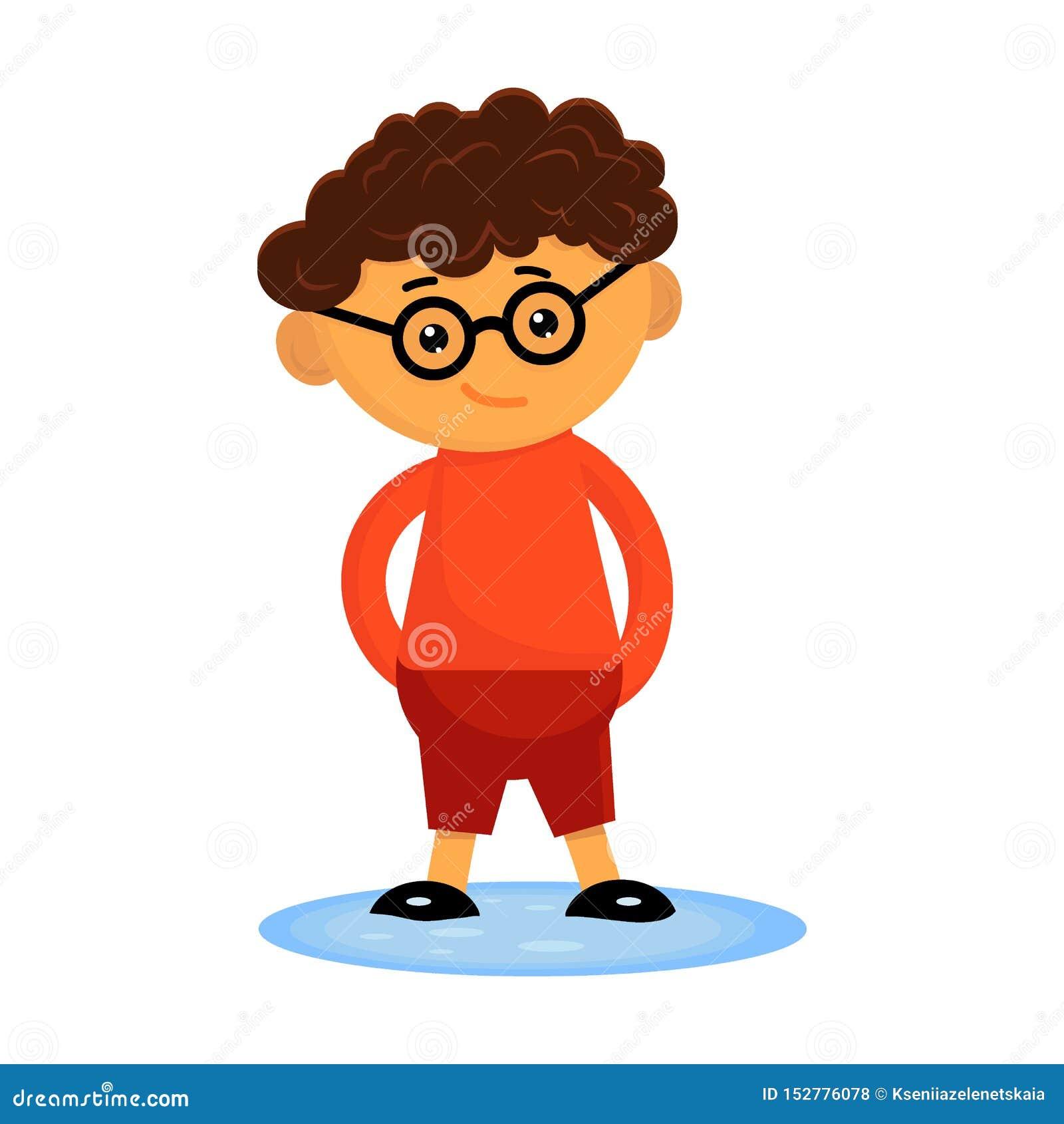 Gullig lockig pojke i ett exponeringsglasanseende i en pöl med hans händer bak hans baksida Plan vektorillustration