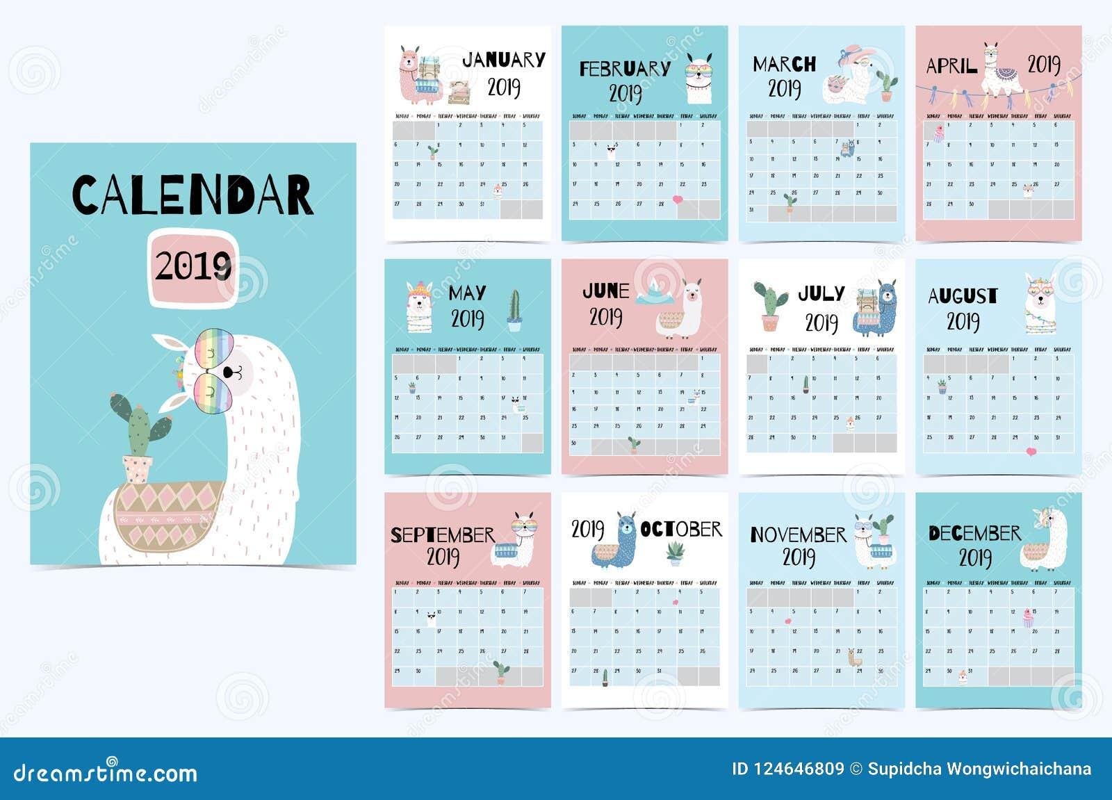 Gullig månatlig kalender 2019 med laman, bagage, kaktus som är geometrisk