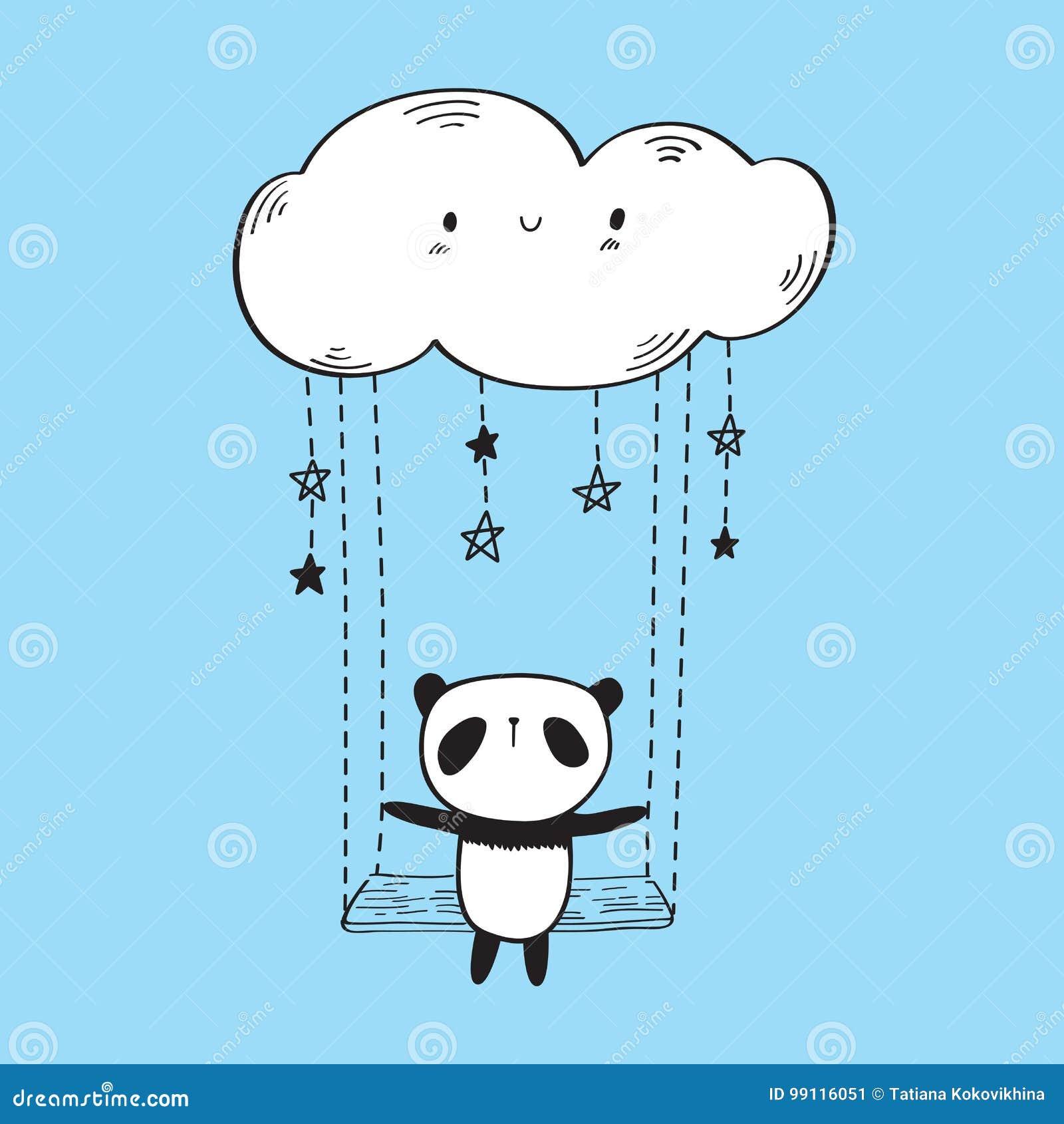 Gullig panda på gungan