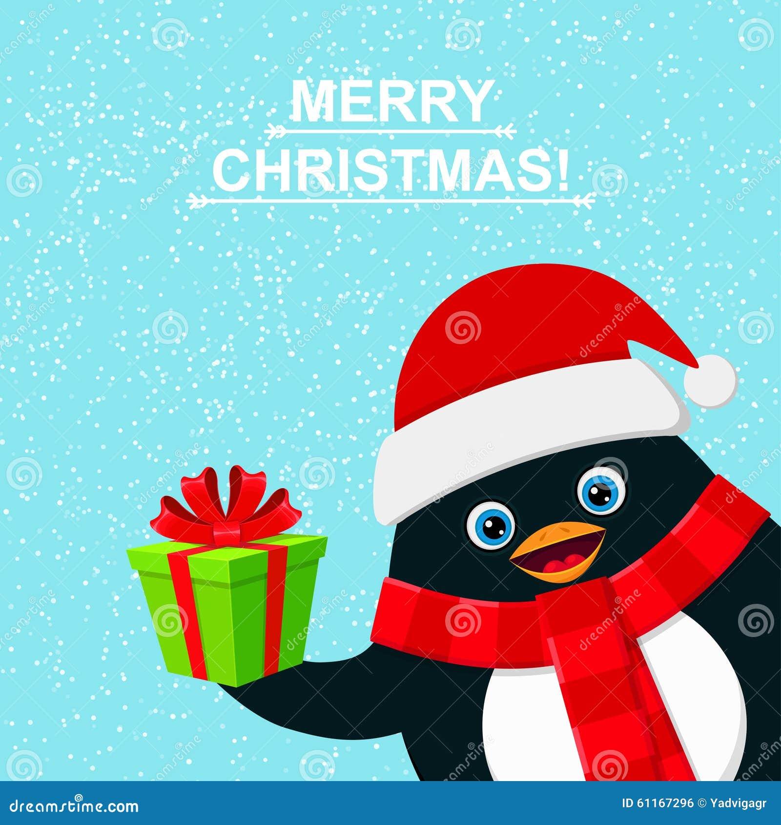 gratulationer till jul Gullig Pingvin Med Gåvaasken Och Glad Jul För Gratulation Vektor  gratulationer till jul