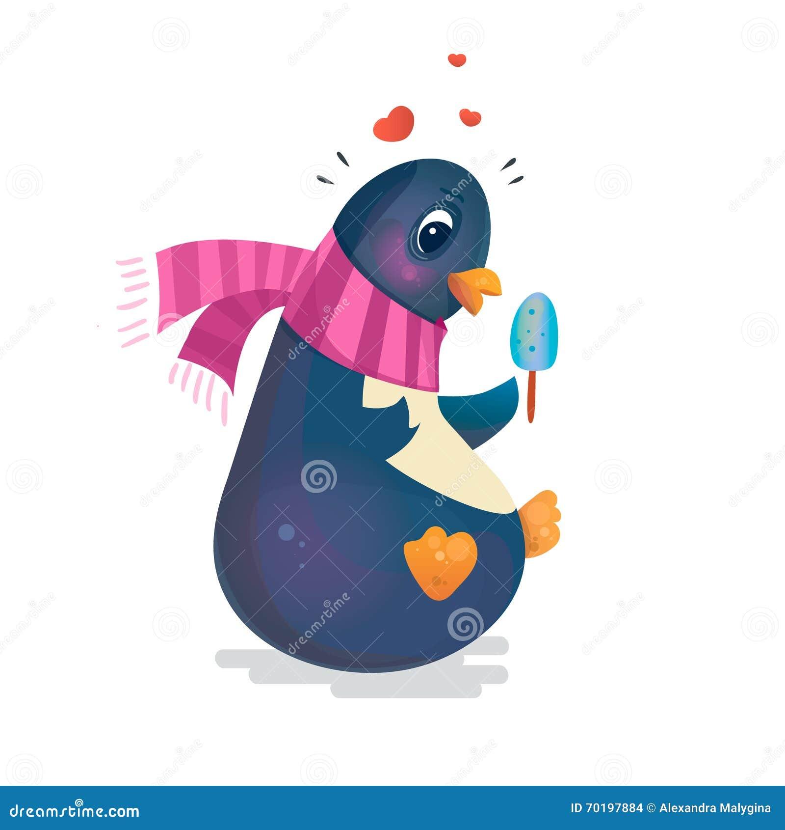 Gullig pingvin med glass i en halsduk