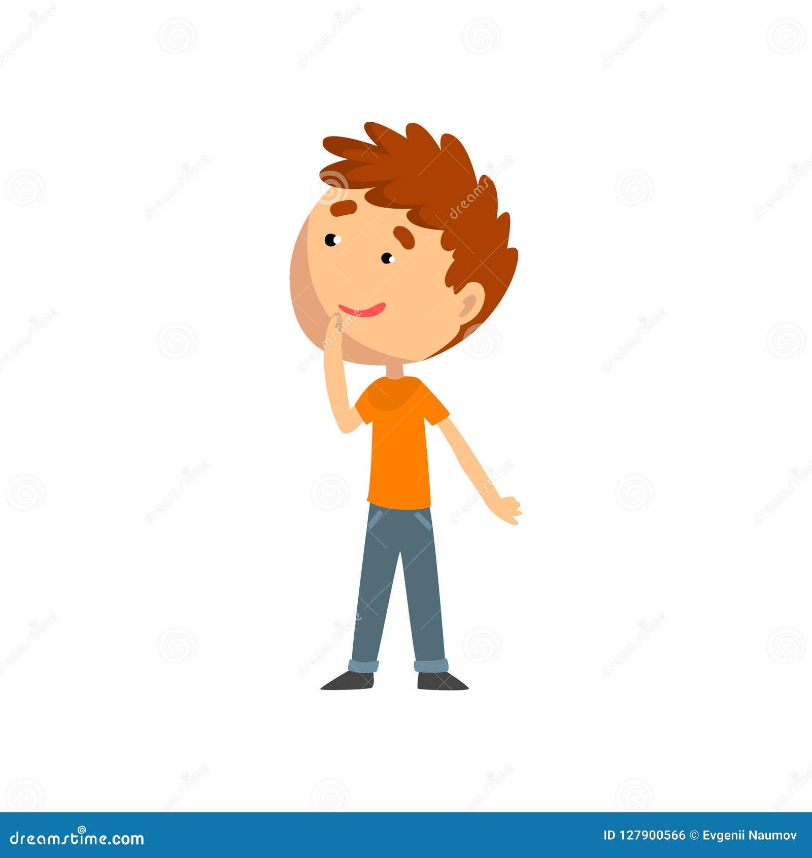 Gullig pojke, unge som har gyckel på den lekplats-, nöjesfält- eller cirkusvektorillustrationen på en vit bakgrund