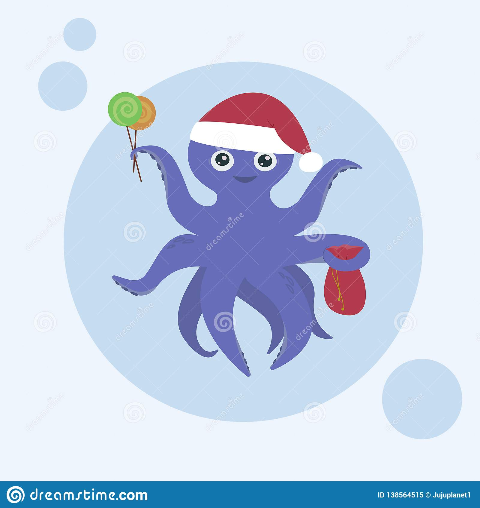 Gullig purpurfärgad bläckfisk med ett leende, hälsningkort