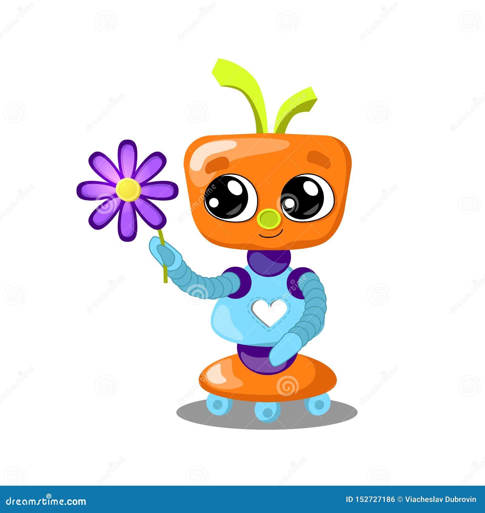 Gullig robot med blommaillustrationen på vit bakgrund Robot med förälskad hjärta Kvinnlig robotflicka