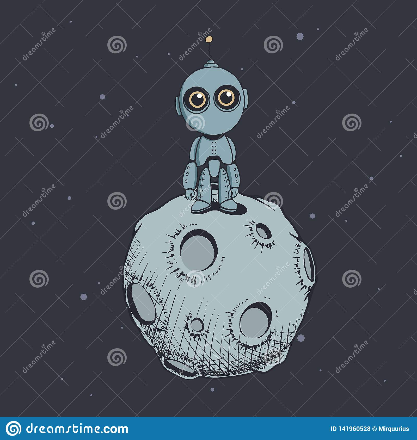 Gullig robot på månen